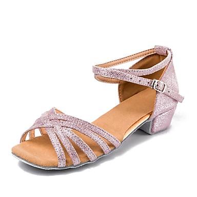 Παπούτσια Χορού Συνθετικά Παιδικά Παπούτσια Χορού Αγκράφα Χαμηλό τακούνι Εξατομικευμένο Ροζ και Άσπρο / EU36
