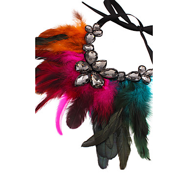 povoljno Modne ogrlice-Žene Ogrlice s privjeskom Perje Statement dame Ogroman Perje Crn Rose Red Crvena Braon Duga Ogrlice Jewelry Za Party Stage