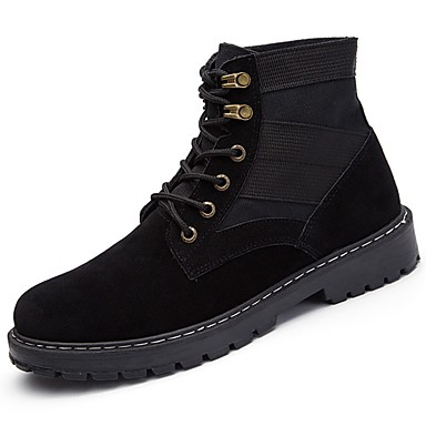 Men's Shoes PU Winter Cowboy / Western Boots Comfort Boots Booties/Ankle Boots Lace-up Casual Outdoor Black Gray Green Khaki