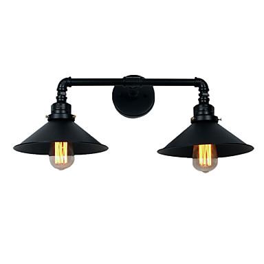 vintage βιομηχανικά φώτα τοίχων μαύρο μεταλλικό σκιά εστιατόριο καφέ μπαρ απομίμηση τοίχων 2 φως βαμμένο φινίρισμα