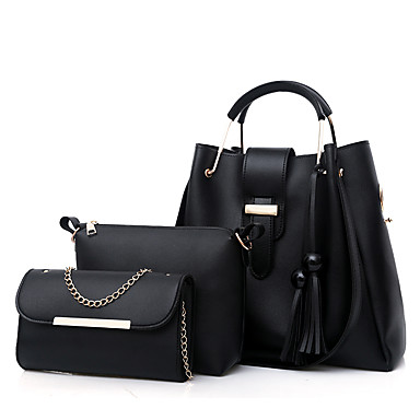 cheap Bag Sets-Women's Bags PU Leather Bag Set 3 Pcs Purse Set Zipper Tassel for Shopping White / Black / Red / Blushing Pink / Bag Sets