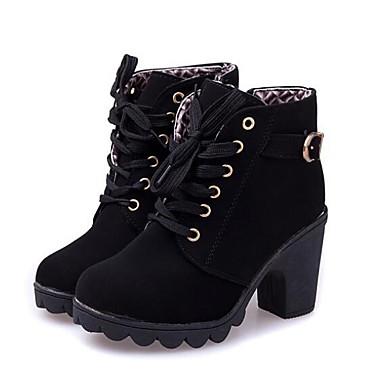 Mujer Zapatos Cuero Invierno Botas de Combate Botas Tacón Plano Botines / Hasta el Tobillo Negro Acheter Sortie 5xna3Jc