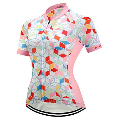 FUALRNY® Mulheres Manga Curta Camisa para Ciclismo Coolmax® Lycra Rosa claro Moto Camisa / Roupas Para Esporte Secagem Rápida Tiras Refletoras Esportes Roupa / Elasticidade Alta