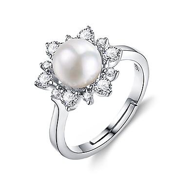 1999 Damskie Pierścionek Zaręczynowy Cyrkonia Perła Modny Elegancki Perłowy Srebro Standardowe Zaokrąglanie Kwiat Biżuteria Urodziny Prezent