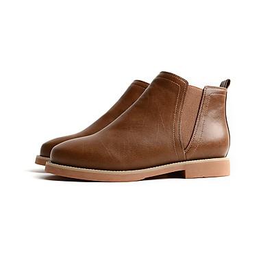 Mujer Zapatos PU Invierno Confort Botas Tacón Cuña Dedo redondo Gris / Amarillo / Marrón Qualité Supérieure Sortie Super Promos Acheter Pas Cher 2018 mgsD8S