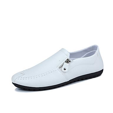 Hombre Zapatos PU Otoño Confort / Mocasín Zapatos de taco bajo y Slip-On Blanco / Negro LPc1OL