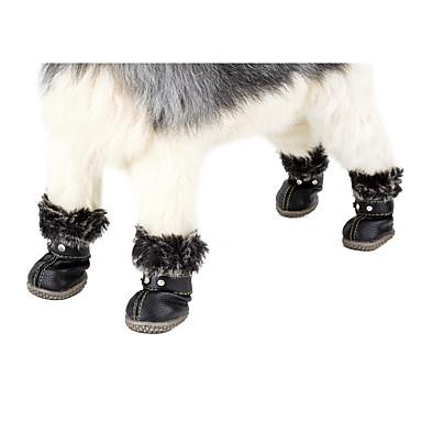 Σκύλος Μπότες Χιονιού Χειμώνας Ρούχα για σκύλους Αδιάβροχη Μαύρο Κόκκινο Στολές PU (Πολυουρεθάνιο) Μονόχρωμο Καθημερινά Διατηρείτε Ζεστό Χαλάρωση XS Τ M L XL