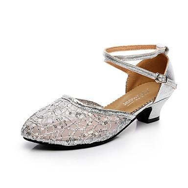 billige Utvalgte tilbud-Dame Dansesko Blonder / Glimtende Glitter Moderne sko Spenne Høye hæler Kubansk hæl Gull / Svart / Sølv / Profesjonell / EU38