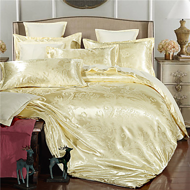 Sets funda n rdica floral 4 piezas faux seda jacquard faux seda 4 unidades 1 cobertor de - Edredon de seda ...