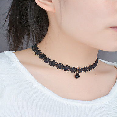 cheap Floral Jewelry-Women's Choker Necklace Flower Flower Teardrop Acrylic Diamond Fashion Euramerican Lace Acrylic Black Necklace Jewelry For Party Special Occasion Birthday Engagement Daily Casual