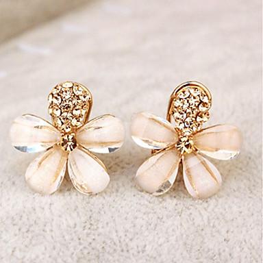 levne Dámské šperky-Dámské Náušnice - Klipsy Kytky dámy Elegantní Štras Náušnice Šperky Zlatá Pro Párty Denní
