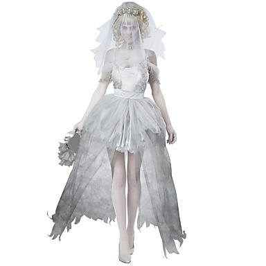 Ζόμπι Νύφη Φορέματα Στολές Ηρώων Χορός μεταμφιεσμένων Γυναικεία Halloween Απόκριες Νέος Χρόνος Γιορτές / Διακοπές Spandex Γκρίζο Γυναικεία Αποκριάτικα Κοστούμια Συμπαγές Χρώμα Δαντέλα