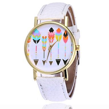 levne Dámské-Dámské Unikátní Creative hodinky čínština Křemenný Velký ciferník PU Kapela Na běžné nošení Módní Černá Bílá Hnědá Zelená Šedá Ivory