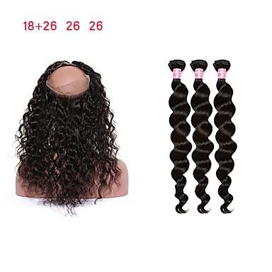 povoljno Ekstenzije od ljudske kose-3 paketi s zatvaranjem Malezijska kosa Kovrčav Valovita kosa Remy kosa Isprepliće ljudske kose Proširenja ljudske kose