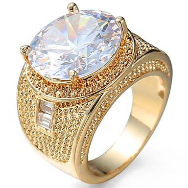 levne Pánské šperky-Unisex Boxer Zásnubní prsten Kubický zirkon Zlatá Černá Zirkon Měď Kulatý Luxus Klasické Módní Svatební Párty Šperky Solitaire Oval simulované
