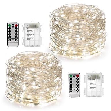 10 ίντσες Φώτα σε Κορδόνι 100 LEDs Θερμό Λευκό / Άσπρο / Πολύχρωμα Αδιάβροχη / Τηλεχειριστήριο / Με ροοστάτη Μπαταρία / IP65 / Αλλάζει Χρώμα