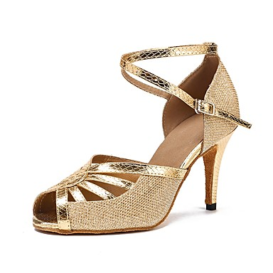 Mulheres Sapatos de Dança Latina Glitter Fecho de Encaixe Sandália / Salto / Têni Gliter com Brilho / Lantejoula Salto Agulha Personalizável Sapatos de Dança Preto / Dourado / Prata / Interior