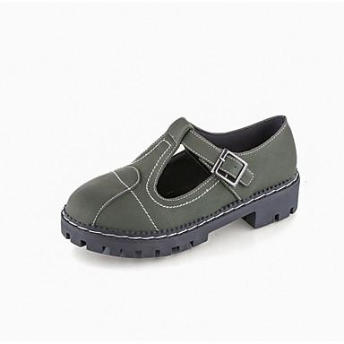 Mujer Zapatos PU Primavera Confort Oxfords Media plataforma Beige / Verde XvtxtVs