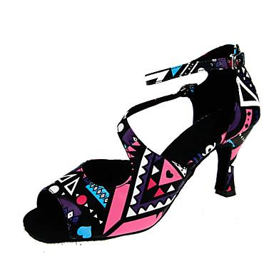 Chaussures de danse(Noir Marron) -Personnalisables-Talon Personnalisé-Satin-Latines Jazz Salsa Chaussures de Swing , black , us6.5-7 / eu37 / uk4.5-5 / cn37