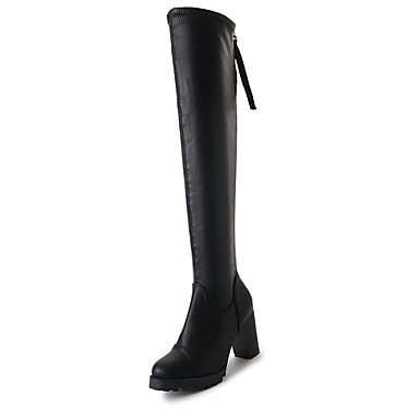 2e3b0602dea Γυναικεία Παπούτσια PU Φθινόπωρο Μπότες Ιππασίας Μπότες Κοντόχοντρο Τακούνι  Στρογγυλή Μύτη Φερμουάρ για Causal Μαύρο 6283805 2019 – $24.99