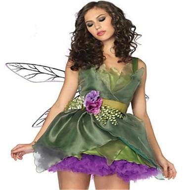 Princesa Queen Vestidos Asas Baile de Máscara Mulheres Natal Dia Das Bruxas Carnaval Festival / Celebração Poliéster Verde Mulheres Trajes de Carnaval Côr Sólida Moderno