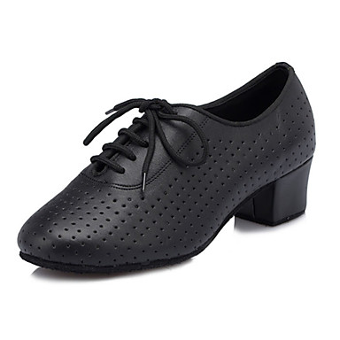 Γυναικεία Παπούτσια χορού λάτιν / Αίθουσα χορού Φο Δέρμα Δαντέλα μέχρι πάνω Χιαστί Κοντόχοντρο Τακούνι Εξατομικευμένο Παπούτσια Χορού Μαύρο / Επίδοση