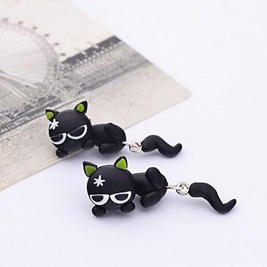Γυναικεία Κουμπωτά Σκουλαρίκια Γάτα Ζώο κυρίες χαριτωμένο στυλ Ρητίνη Σκουλαρίκια Κοσμήματα Μαύρο Για Καθημερινά Εξόδου