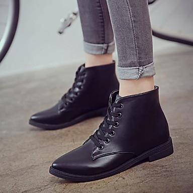 Mujer Zapatos PU Primavera / Otoño Botas de Moda Botas Tacón Cuadrado Dedo Puntiagudo Botines / Hasta el Tobillo Negro / Gris / Verde ag1pkYta