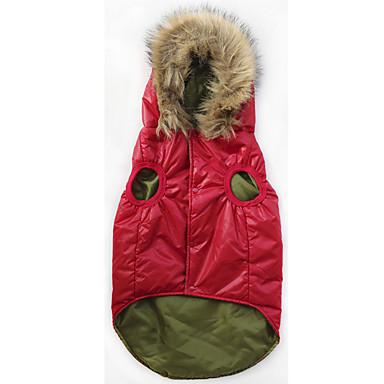 Σκύλος Παλτά Φούτερ με Κουκούλα Χειμώνας Ρούχα για σκύλους Κόκκινο Στολές Γούνα Βαμβάκι Μονόχρωμο Casual / Σπορ XXL XXXL XXXXL XXXXXL