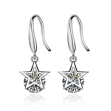 Mulheres Diamante Zircônia Cubica Brincos Compridos Estrela senhoras Prata Chapeada Brincos Jóias Branco Para Cerimônia namorados