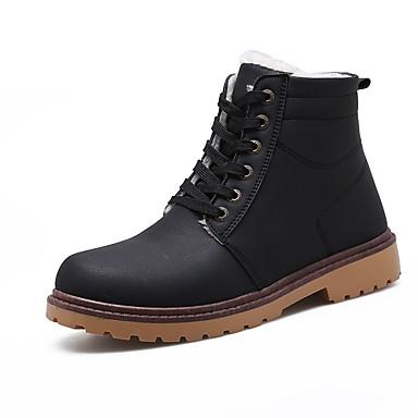 [$19.99] Hombre Zapatos PU Invierno Otoño Botas Camperas Botas de Moda Botas de Combate Botas Para Casual Negro Marrón Marrón Claro