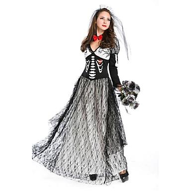 Νύφη Bloody Mary Στολές Γυναικεία Halloween Η μέρα των νεκρών Γιορτές / Διακοπές Πολυεστέρας Μαύρο Γυναικεία Αποκριάτικα Κοστούμια Ριγέ Πεπαλαιωμένο / Καλύμματα Κεφαλής / Neckwear