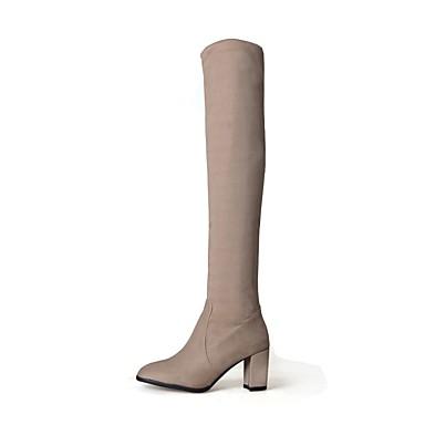 f0fef828be Mujer Zapatos Cuero Nobuck Invierno Botas de Moda Botas Dedo redondo Botas  altas para Casual Vestido Negro Almendra 6315356 2019 –  39.99