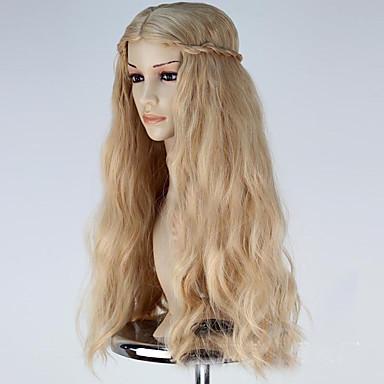 billige Kostymeparykk-Syntetiske parykker Kostymeparykker Bølget Stil Parykk Blond Lang Linbleke Syntetisk hår Dame Blond Parykk