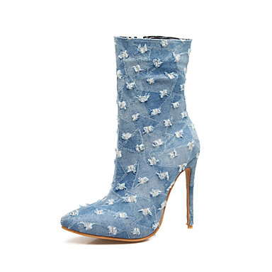 e23b85e99ab Women s Shoes Denim Winter Novelty   Fashion Boots Boots Chunky Heel Round  Toe Mid-Calf Boots Dark Blue   Navy Blue   Wedding 6273396 2019 –  44.99