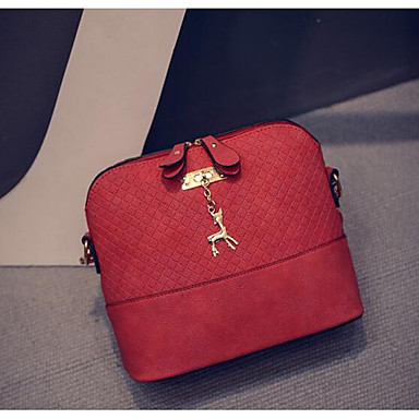 Γυναικεία Φερμουάρ PU Σταυρωτή τσάντα Μαύρο / Ρουμπίνι / Γκρίζο