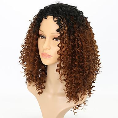 Συνθετικές Περούκες Σγουρά Με αφέλειες Περούκα Μεσαίο Μαύρο / Medium Auburn Συνθετικά μαλλιά Γυναικεία Καφέ / Μαλλιά με ανταύγειες