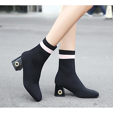 Women's Shoes Nubuck leather Winter Fall Combat Boots Fashion Boots Boots Chunky Heel Square Toe Booties/Ankle Boots Casual Black Red