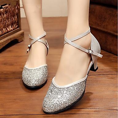 Γυναικεία Μοντέρνα παπούτσια / Αίθουσα χορού Με πούλιες Κούμπωμα Μπαρέτας Κόψιμο / Παγιέτες Προσαρμοσμένο τακούνι Εξατομικευμένο Παπούτσια Χορού Μαύρο / Χρυσό / Ασημί / Εσωτερικό / EU38
