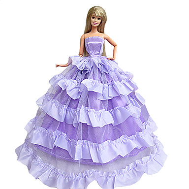 levne Doplňky pro panenky-Šaty 4 pcs Pro Barbiedoll Fialová / Zelená + modrá + růžová + fialová Polyester Šaty Pro Dívka je Doll Toy