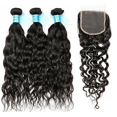 povoljno Ekstenzije od ljudske kose-3 paketi s zatvaranjem Peruanska kosa Water Wave Remy kosa Kosa potke zatvaranje 8-12 inch Isprepliće ljudske kose Proširenja ljudske kose / 10A / Vodeni valovi