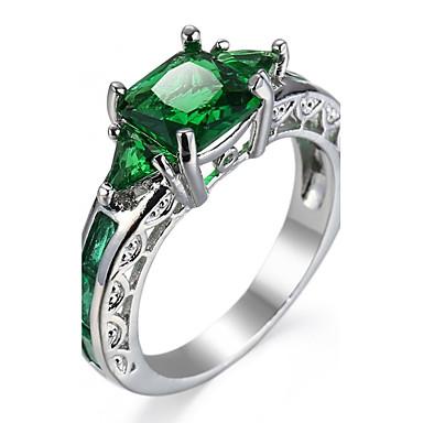 levne Pánské šperky-Dámské Boxer Zásnubní prsten Kubický zirkon Růžová Zelená Modrá Zirkon Měď Geometric Shape Luxus Klasické Módní Svatební Párty Šperky Geometrické Solitaire Emerald Cut