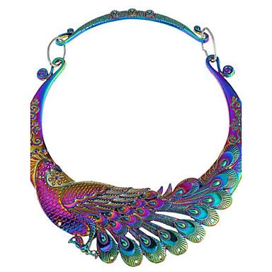 povoljno Modne ogrlice-Žene Sintetički dijamant Ogrlice s privjeskom Paun dame Vintage Indijanac zdepast Legura Pink Duga Ogrlice Jewelry Za Party Dnevno