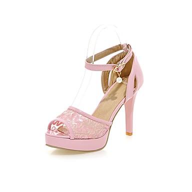 Zapatos blancos con hebilla de punta abierta casual para mujer e2VZL3