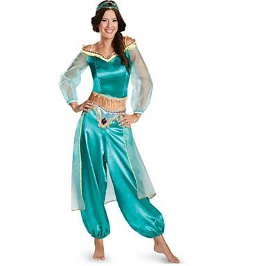 Πριγκίπισσα Γιασεμί Στολές Ηρώων Χορός μεταμφιεσμένων Γυναικεία Χριστούγεννα Halloween Απόκριες Γιορτές / Διακοπές Πολυ / Βαμβάκι Μπλε Γυναικεία Αποκριάτικα Κοστούμια Συμπαγές Χρώμα Μοντέρνα / Κορυφή
