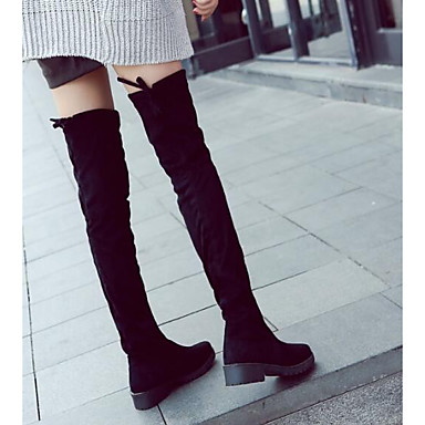 e9dd2f63daff Women s Leather   Nappa Leather Winter Fashion Boots   Slouch Boots Boots  Chunky Heel Thigh-high Boots Black   EU39  06273386