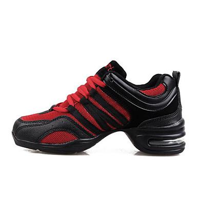 abordables Chaussures de Danse-Femme Chaussures de danse Grille respirante Baskets de Danse Talon Hauteur de semelle compensée Noir / Noir / Rouge / Noir / Orange. / Entraînement