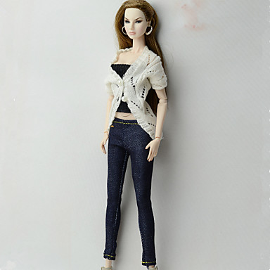 Κούκλα και πουλόβερ κούκλα Κλασσικό στυλ 3 pcs Για Barbie Μοντέρνα Άσπρο / Μαύρο Ύφασμα Μάλλινο Ύφασμα Oxford Πανί Επίστρωση / Παντελόνια / Κορσές Για Κορίτσια κούκλα παιχνιδιών