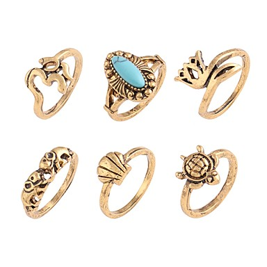 cheap Rings-Women's Knuckle Ring Turquoise Six-piece Suit Gold Silver Turquoise Alloy Irregular Ladies Daily Going out Jewelry Mismatched Floral / Botanicals Flower Turtle Cool