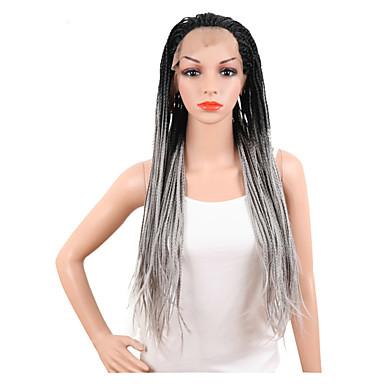 Συνθετικές Περούκες Ίσιο Kardashian Στυλ Δαντέλα Μπροστά Περούκα Μαύρο Γκρι Συνθετικά μαλλιά Γυναικεία Μαλλιά με ανταύγειες / Περούκα αφροαμερικανικό στυλ / Περούκα κοτσιδάκια Μαύρο / Γκρι Περούκα